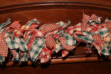 Christmas red and green homespun check primitive 4 Ft rag light garland