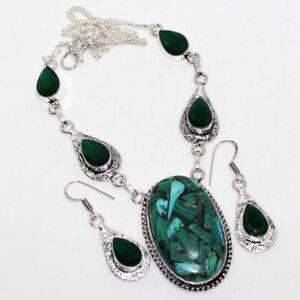 Copper Malachite Green Onyx Handmade Ethnic Necklace Earrings Set Jewelry GW