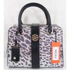 Karen Millen Purple Ivory Suede Leopard Black Leather LG Satchel NWT