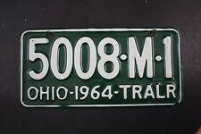 1964 Vintage Original Ohio License Plate 5008-M-1 Trailer