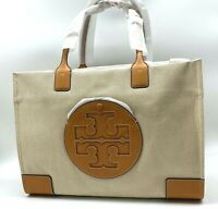 AUTH NWT TORY BURCH ELLA Logo Large Canvas Leather Tote Bag In Natural