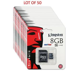 Kingston 8GB Class 4 LOT of 50 MicroSDHC Card Flash Memory w /Adapter SDC4/8GB