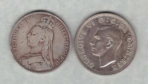 TWO 1890 VICTORIA & 1937 GEORGE VI SILVER CROWNS IN A USED CONDITION