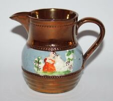 """Antique Copper Lustre Ware - 3 1/2"""" Jug with Blue Band"""
