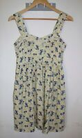 Quirky Circus Fit & Flare Dress Size 10 Yellow Floral Print Sleeveless Summer