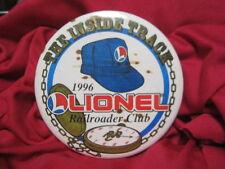 """lionel Train 1996 The Inside Track Lionel Railroader Club Large 3 1/2"""" Rare pin"""