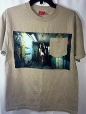 V/sual Tan Tee Shirt Sexy Woman Graffiti Size Medium