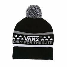 Vans Off The Wall Elite Pom Cuff Beanie Black White Gray Mens Cap Hat New NWT