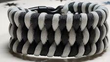 Oakland Raiders Trilobite Wide Weave Black & Silver Paracord Survival Bracelet