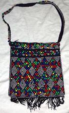 Vintage Hippie Purse Plastic Beaded Blue Red Green Yellow Bead Handbag Boho 60s