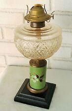 Outstanding Antique OIl Kerosene Lamp Lovely Floral Design Hand Painted