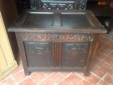 Elizabeth I 16th century Small Two Panel Carved Oak Coffer Chest Mule Chest ER