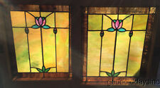 """Beautiful Pair of Antique Stained Leaded Glass Window Windows 23"""" by 20"""""""