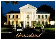 Graceland Tennessee Postcard Elvis Presley Mansion Home Statues Night New