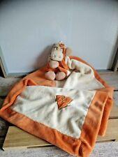 Doudou zèbre Zamba ma première couverture orange beige fleur Noukie's Noukies
