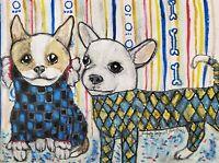 Chihuahua Harlequins Folk Art Print 13x19 Dog Collectible Signed by Artist KSams