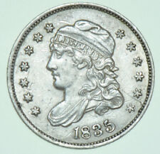 More details for usa, capped bust silver half dime, large date & 5₵, short top to both, 1835 coin