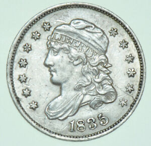USA, CAPPED BUST SILVER HALF DIME, LARGE DATE & 5₵, SHORT TOP TO BOTH, 1835 COIN