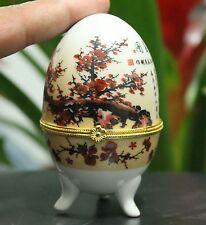 Chinese White Porcelain Plum Blossom Poetry Rotundity Woman female Jewelry Box