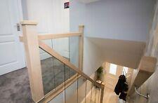 Oak and Glass Staircase Banister + 2.4m Landing Full Set Embedded Glass Panels