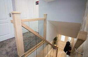 *SALE*Oak and Glass Staircase Banister + Landing Full Set Embedded Glass Panels