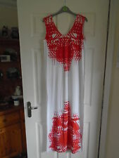 BNWT £14 White with bold red abstract print G21 summer v-neck maxi dress SIZE 12