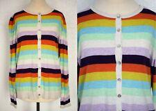 Heyton Multicoloured Striped Rainbow Cotton Cardigan Size 16 BNWT