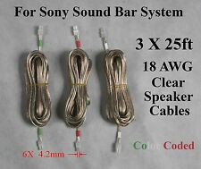 3X 25ft 4.2mm speaker cables/wire made for Sony Sound Bar HT-CT150/CT350/CT500