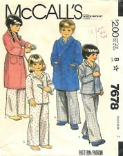 Vintage 1981 McCall's # 7678 Sewing Pattern: Children's Robe And Pajamas: Size 2