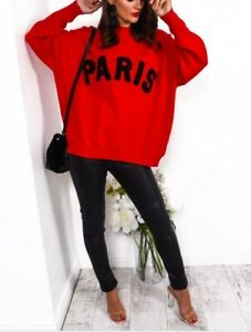 Ladies jumper red oversized sweater with large black Paris one size fashion