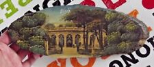 1950 Vichy Therme postcards old photos glued and painted on wooden slice, frame-