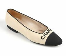 CHANEL Beige Canvas Black Signature Cap Toe Ballet Flats Shoes Size 40 / 10