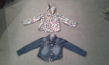 Girls Next Hooded Floral Pattened & Denim Jacket Coat - Ages 5-6 & 7-8 Years