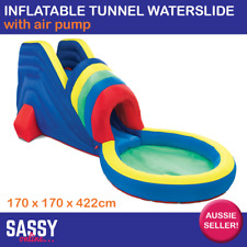 Inflatable Tunnel Water Slide Giant With Air Pump and Pool Outdoor Blow Up Slide