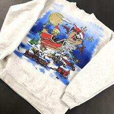 Vintage 90s Crewneck Sweatshirt Medium Looney Tuned FREEZE Tax Tweety Christmas