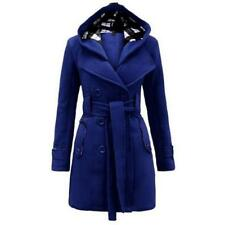 Women Winter Warm Luxury Elegant Long Hooded Woolen Parka Jacket Trench Coat