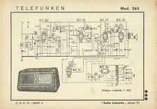 Telefunken Radioricevitore Mod. 265 - Schema 1942