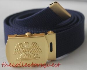 """NEW GOLD EAGLE ADJUSTABLE 54"""" INCH NAVY CANVAS MILITARY GOLF WEB BELT BUCKLE"""