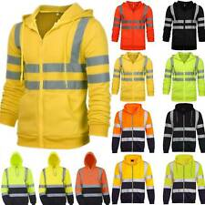 Hi Viz Visibility Men Hooded Coat Jacket Sweatshirt Safety Work Hoodie Insulated