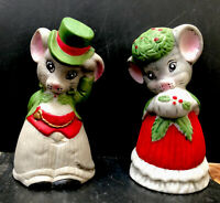 Vintage Jasco Christmas Mouse Ornament Figurines Bisque Porcelain Bell Set Mice