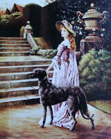 Lady with Horse and Greyhound Dog vintage art