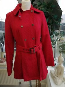 Ladies Red French Connection Double Breasted Swing Coat, Size 8 Zip Closure VGC