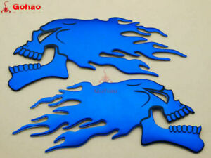 New Pair Skull Flame Fuel Gas Tank Fairing/Fender 3D Emblem Badge Decal Blue L/R