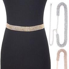 Bling Rhinestone Full Metal Chain Belt Wide Waist Hip Prom Wedding Dress Long