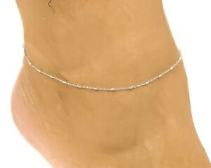 14k White Gold Rolo with Diamond Cut Round Bars Anklet 9 Inches
