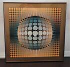 """1970s """"Vega - Zett - 2"""" Op Art Silkscreen Print After Victor Vasarely, Framed"""