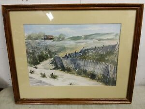 Original Framed Watercolor of Coastal Scene Signed Jean K. Cobb, Chester Vermont
