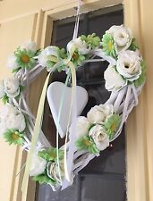 Wicker Heart Wreath Shabby Chic Country Door Wreath Silk Roses Daisies Beautiful
