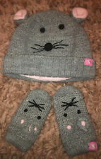 Joules Girls Mouse 🐭Winter Hat & Mittens, Grey & Pink, Size 6-12 months