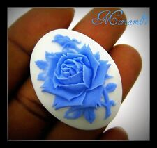 12 pieces  40x30mm Baby Blue on White Rose Cameos